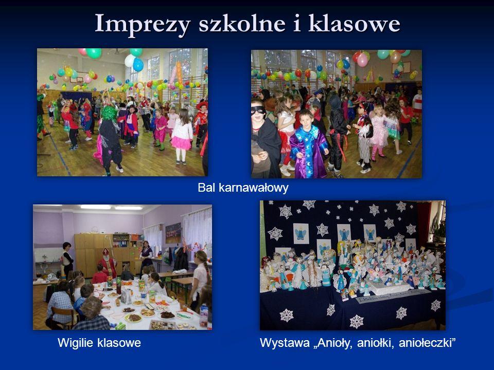 """Imprezy szkolne i klasowe Bal karnawałowy Wigilie klasoweWystawa """"Anioły, aniołki, aniołeczki"""