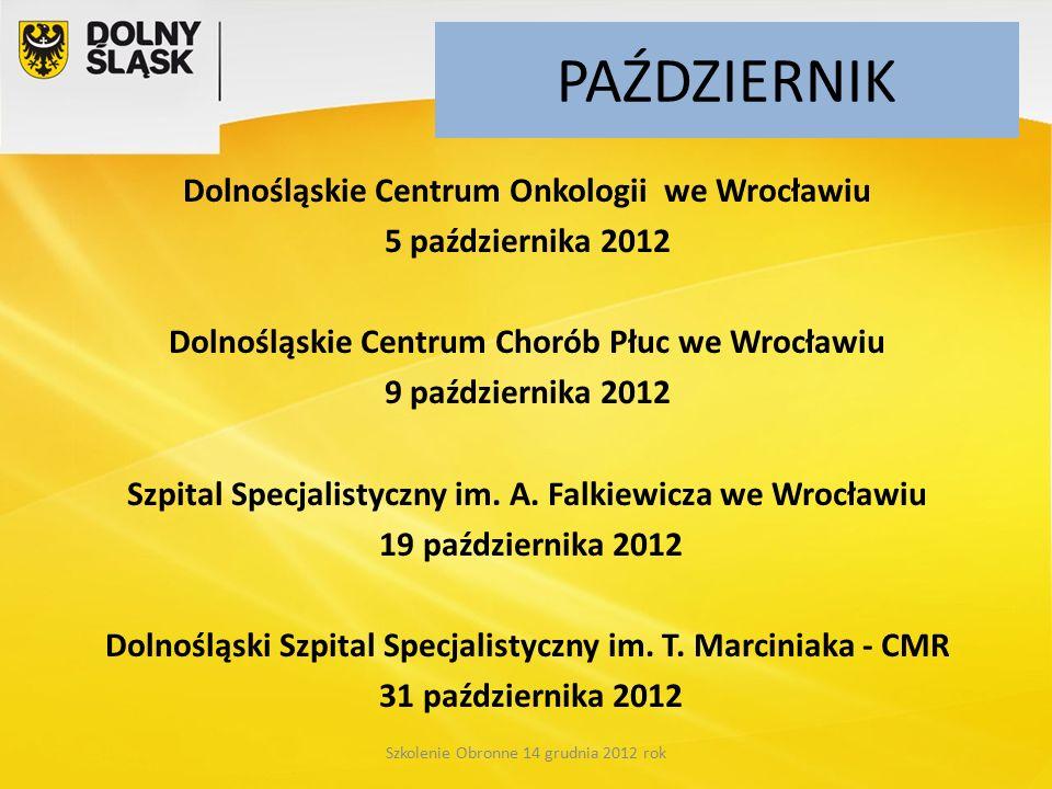 PAŹDZIERNIK Dolnośląskie Centrum Onkologii we Wrocławiu 5 października 2012 Dolnośląskie Centrum Chorób Płuc we Wrocławiu 9 października 2012 Szpital Specjalistyczny im.
