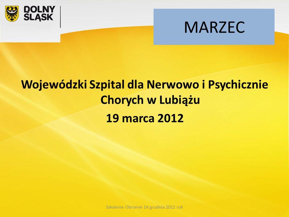 MARZEC Wojewódzki Szpital dla Nerwowo i Psychicznie Chorych w Lubiążu 19 marca 2012 Szkolenie Obronne 14 grudnia 2012 rok