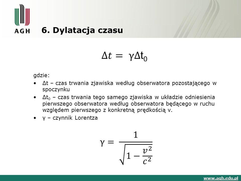 6. Dylatacja czasu www.agh.edu.pl gdzie: Δt – czas trwania zjawiska według obserwatora pozostającego w spoczynku Δt 0 – czas trwania tego samego zjawi