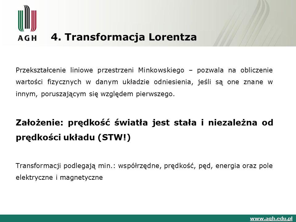 4. Transformacja Lorentza Przekształcenie liniowe przestrzeni Minkowskiego – pozwala na obliczenie wartości fizycznych w danym układzie odniesienia, j