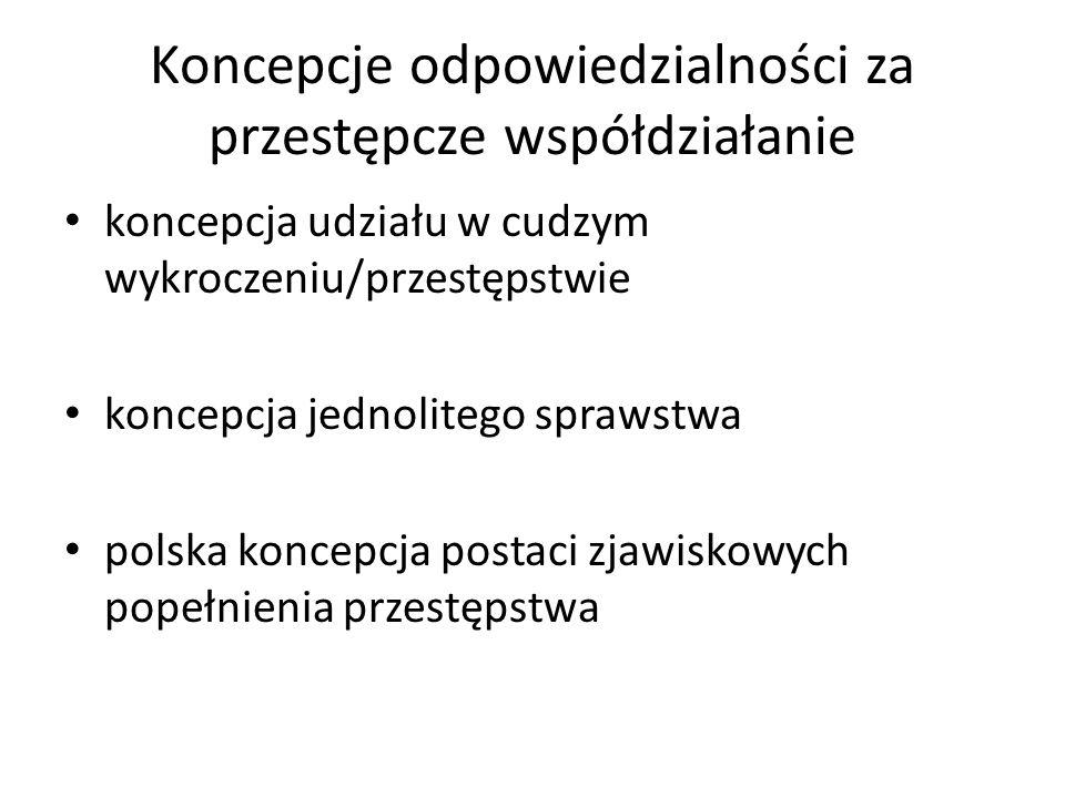 Koncepcje odpowiedzialności za przestępcze współdziałanie koncepcja udziału w cudzym wykroczeniu/przestępstwie koncepcja jednolitego sprawstwa polska koncepcja postaci zjawiskowych popełnienia przestępstwa