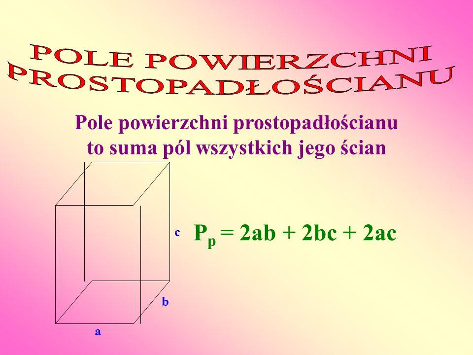 Pole powierzchni prostopadłościanu to suma pól wszystkich jego ścian a b c P p = 2ab + 2bc + 2ac