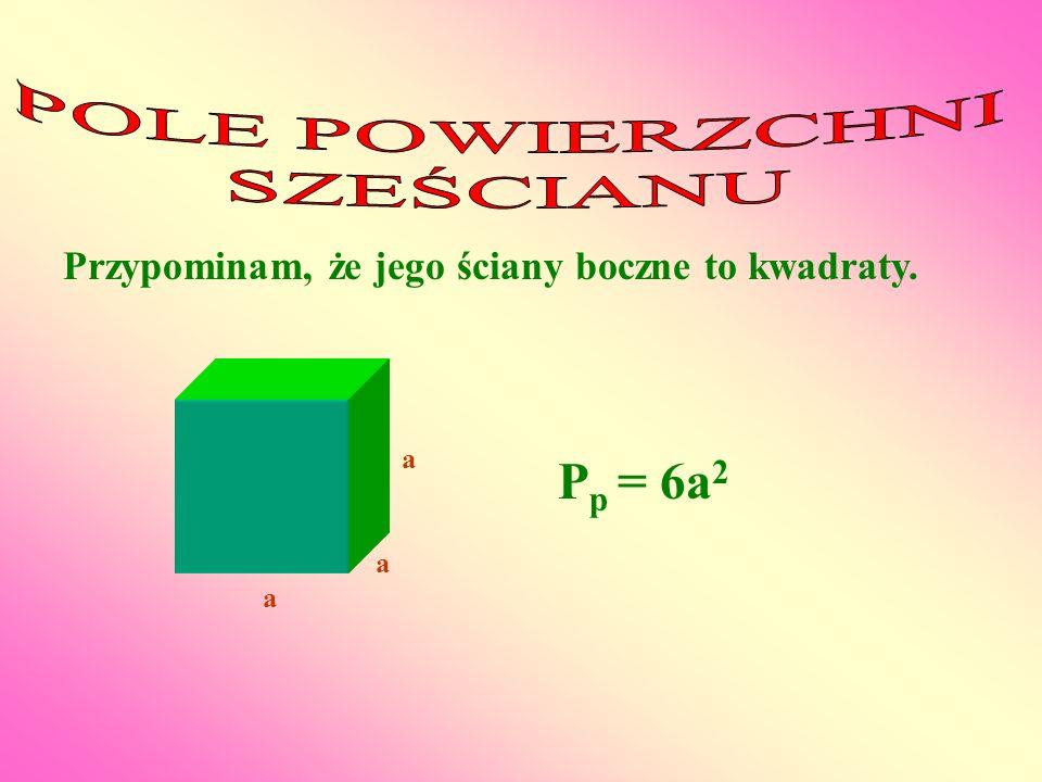 a a a P p = 6a 2 Przypominam, że jego ściany boczne to kwadraty.
