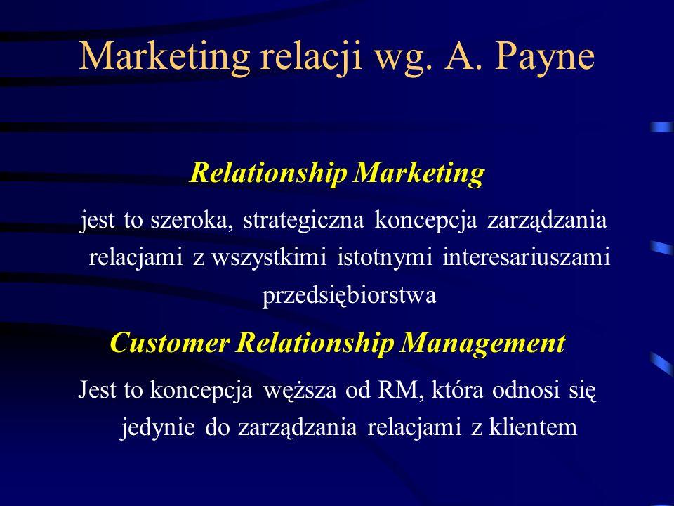Marketing relacji wg. A. Payne Relationship Marketing jest to szeroka, strategiczna koncepcja zarządzania relacjami z wszystkimi istotnymi interesariu