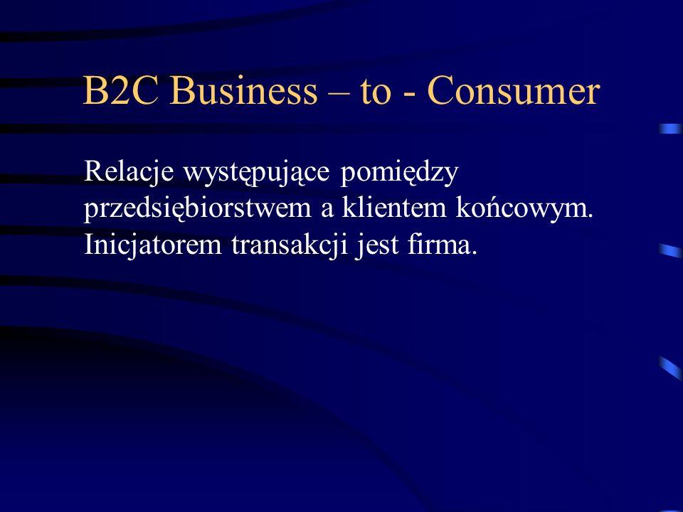 B2C Business – to - Consumer Relacje występujące pomiędzy przedsiębiorstwem a klientem końcowym. Inicjatorem transakcji jest firma.