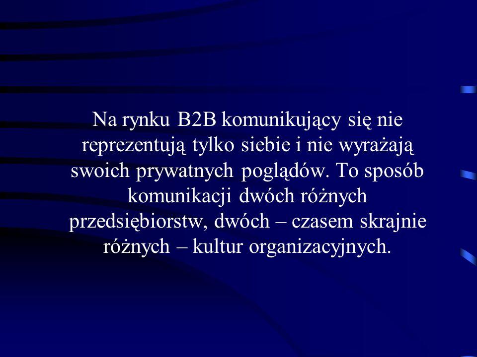 Na rynku B2B komunikujący się nie reprezentują tylko siebie i nie wyrażają swoich prywatnych poglądów. To sposób komunikacji dwóch różnych przedsiębio