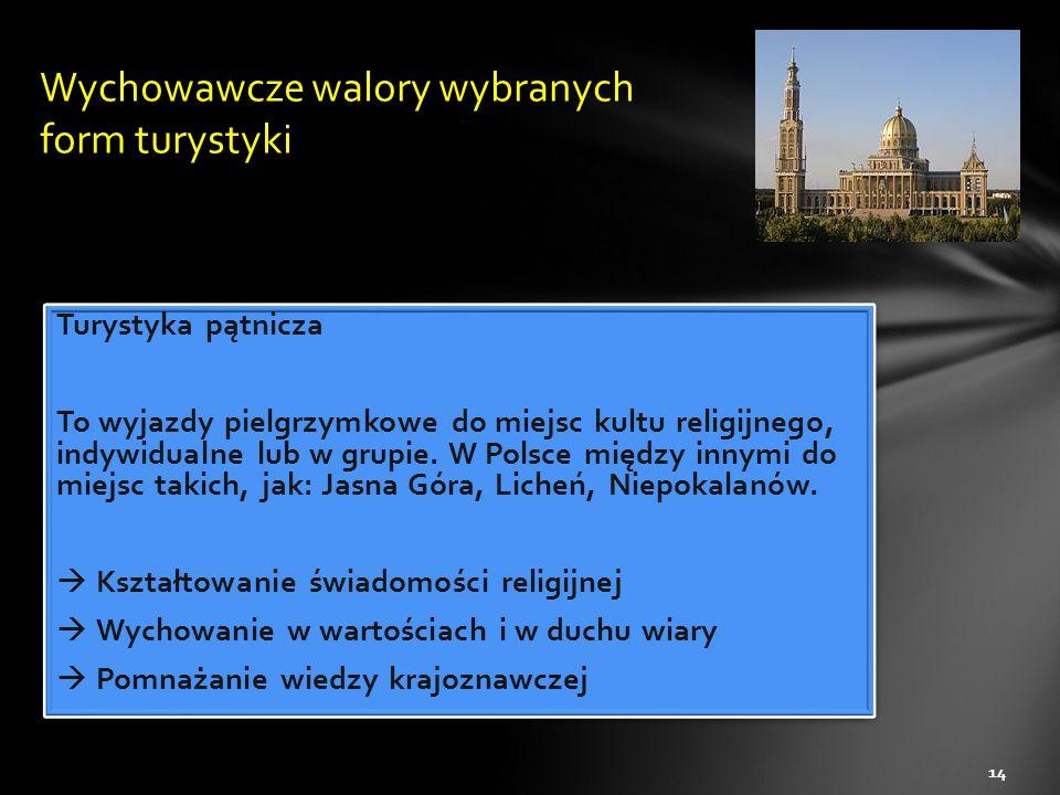 Turystyka pątnicza To wyjazdy pielgrzymkowe do miejsc kultu religijnego, indywidualne lub w grupie. W Polsce między innymi do miejsc takich, jak: Jasn