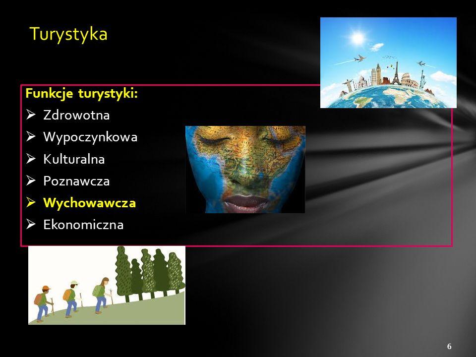 Funkcje turystyki:  Zdrowotna  Wypoczynkowa  Kulturalna  Poznawcza  Wychowawcza  Ekonomiczna 6 Turystyka