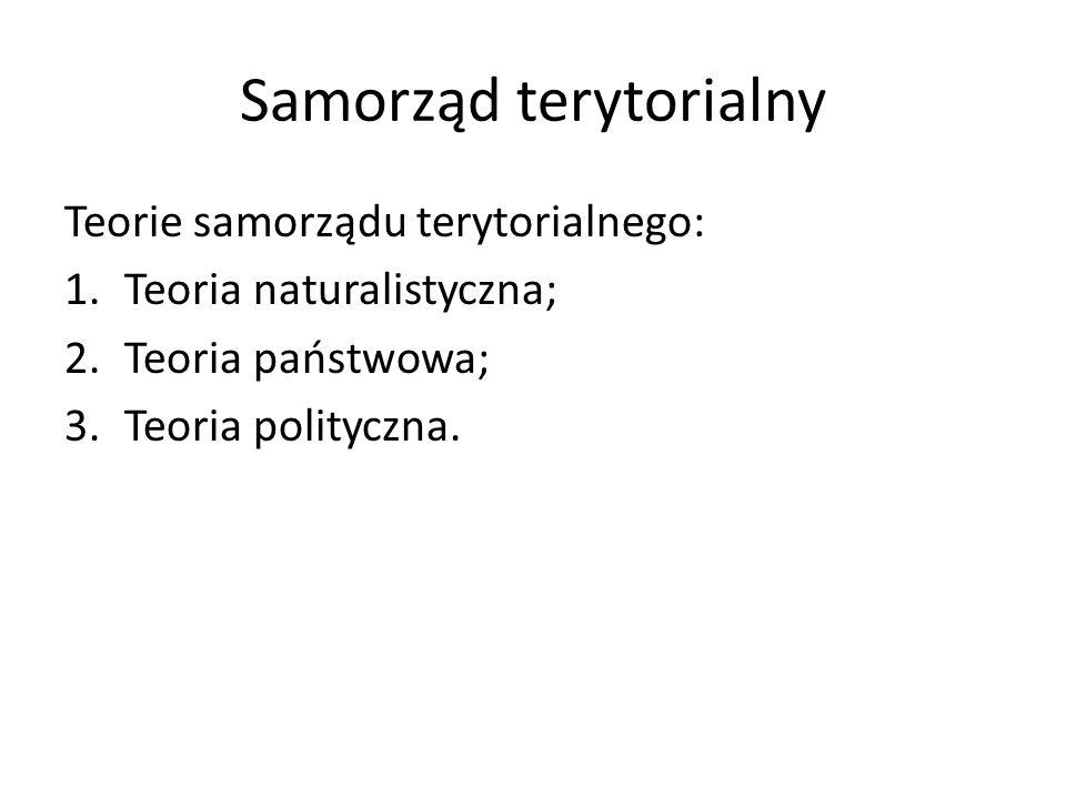 Teorie samorządu terytorialnego: 1.Teoria naturalistyczna; 2.Teoria państwowa; 3.Teoria polityczna.