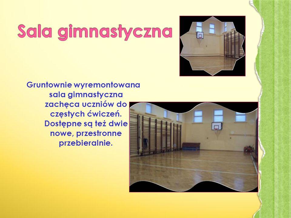 Gruntownie wyremontowana sala gimnastyczna zachęca uczniów do częstych ćwiczeń.