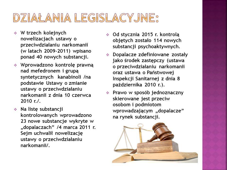  W trzech kolejnych nowelizacjach ustawy o przeciwdziałaniu narkomanii (w latach 2009-2011) wpisano ponad 40 nowych substancji.  Wprowadzono kontrol