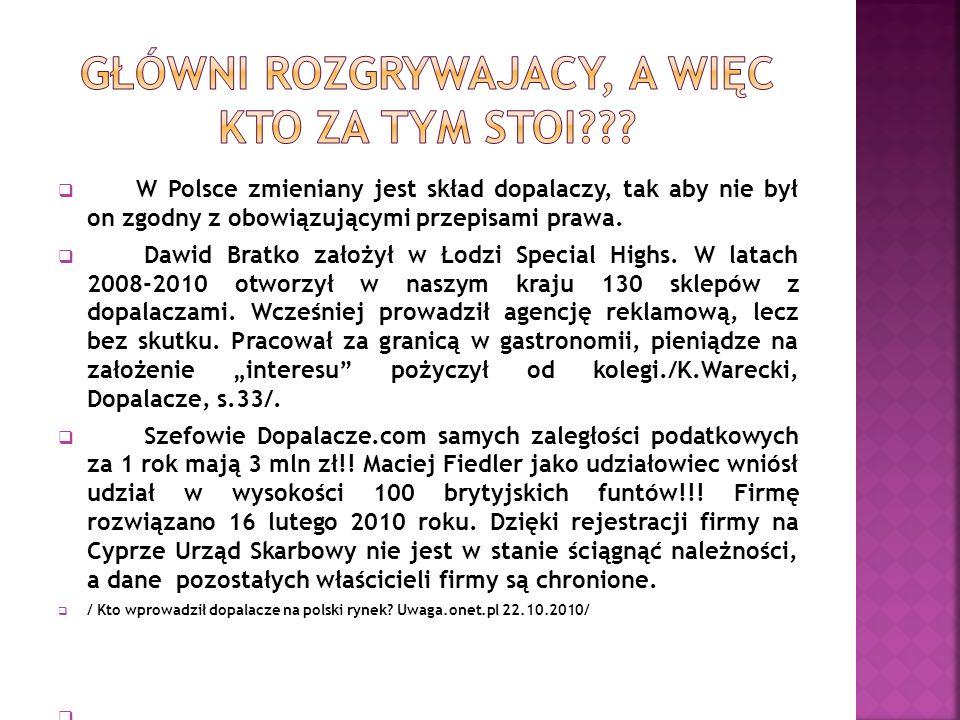  W Polsce zmieniany jest skład dopalaczy, tak aby nie był on zgodny z obowiązującymi przepisami prawa.  Dawid Bratko założył w Łodzi Special Highs.