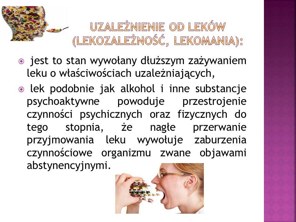  jest to stan wywołany dłuższym zażywaniem leku o właściwościach uzależniających,  lek podobnie jak alkohol i inne substancje psychoaktywne powoduje