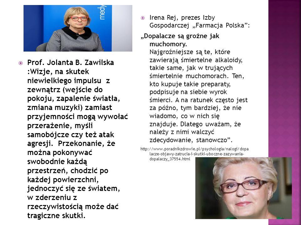  Prof. Jolanta B. Zawilska :Wizje, na skutek niewielkiego impulsu z zewnątrz (wejście do pokoju, zapalenie światła, zmiana muzyki) zamiast przyjemnoś