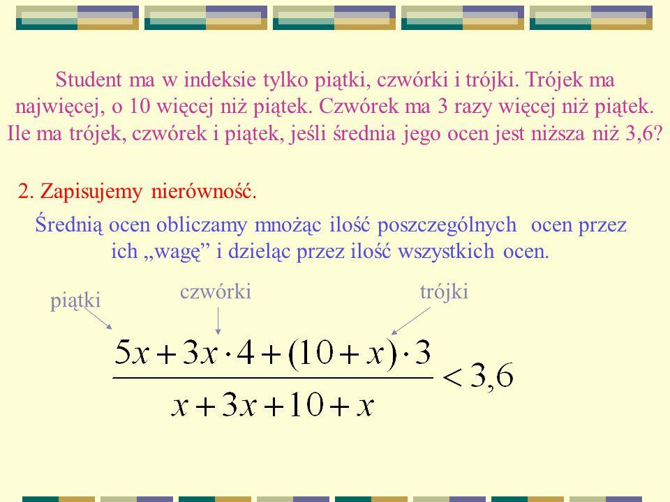 Student ma w indeksie tylko piątki, czwórki i trójki.