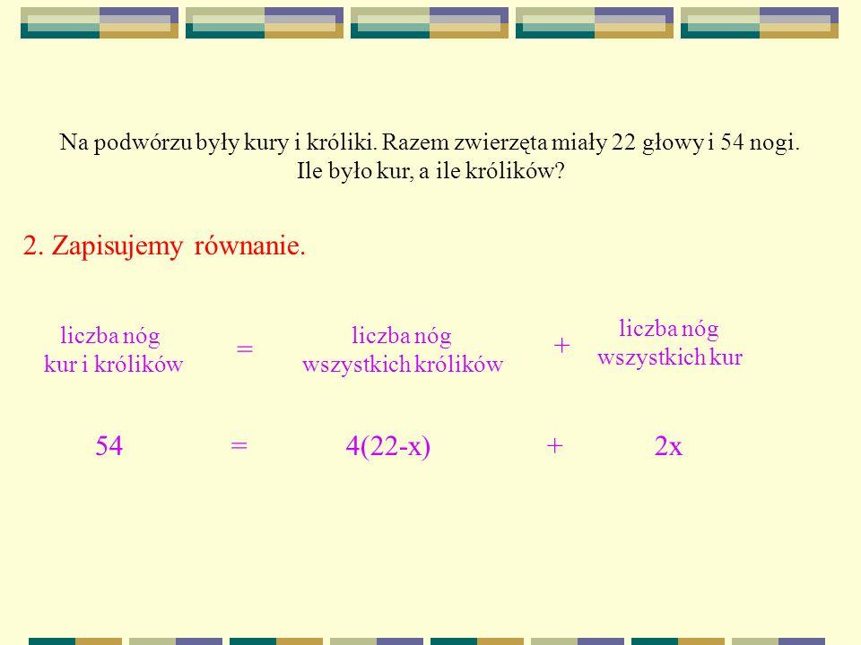 2. Zapisujemy równanie. liczba nóg kur i królików liczba nóg wszystkich królików = + Na podwórzu były kury i króliki. Razem zwierzęta miały 22 głowy i