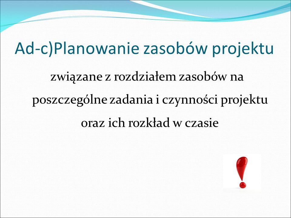 Ad-c)Planowanie zasobów projektu związane z rozdziałem zasobów na poszczególne zadania i czynności projektu oraz ich rozkład w czasie