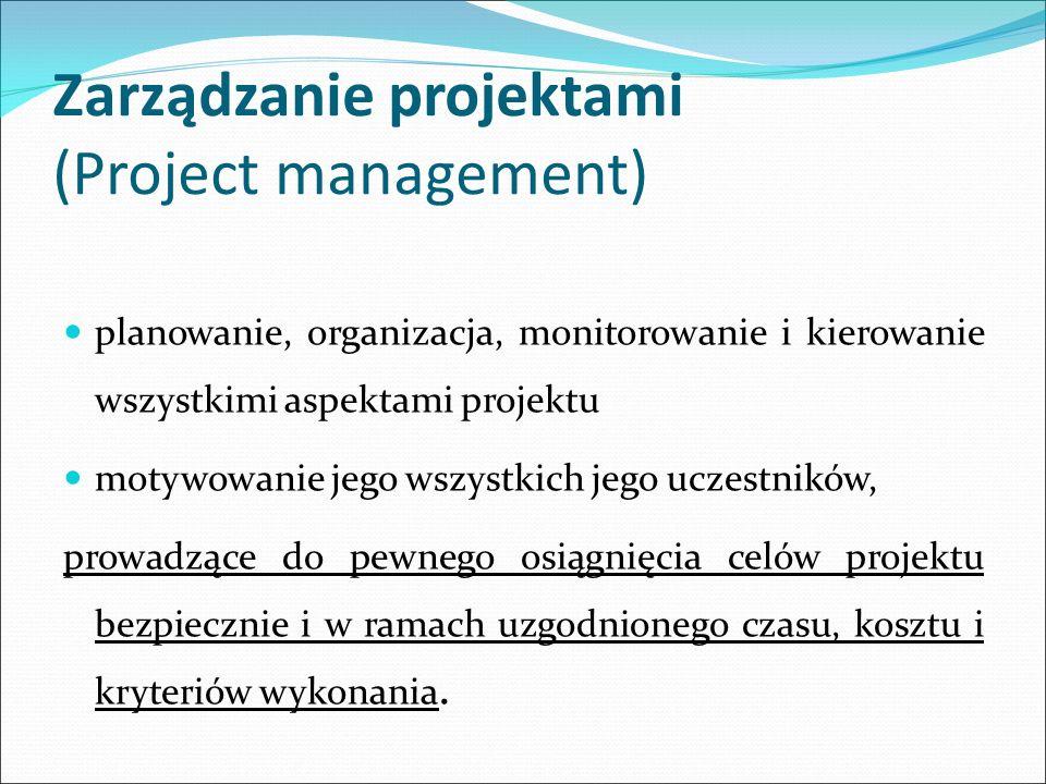 Zarządzanie projektami (Project management) planowanie, organizacja, monitorowanie i kierowanie wszystkimi aspektami projektu motywowanie jego wszystkich jego uczestników, prowadzące do pewnego osiągnięcia celów projektu bezpiecznie i w ramach uzgodnionego czasu, kosztu i kryteriów wykonania.