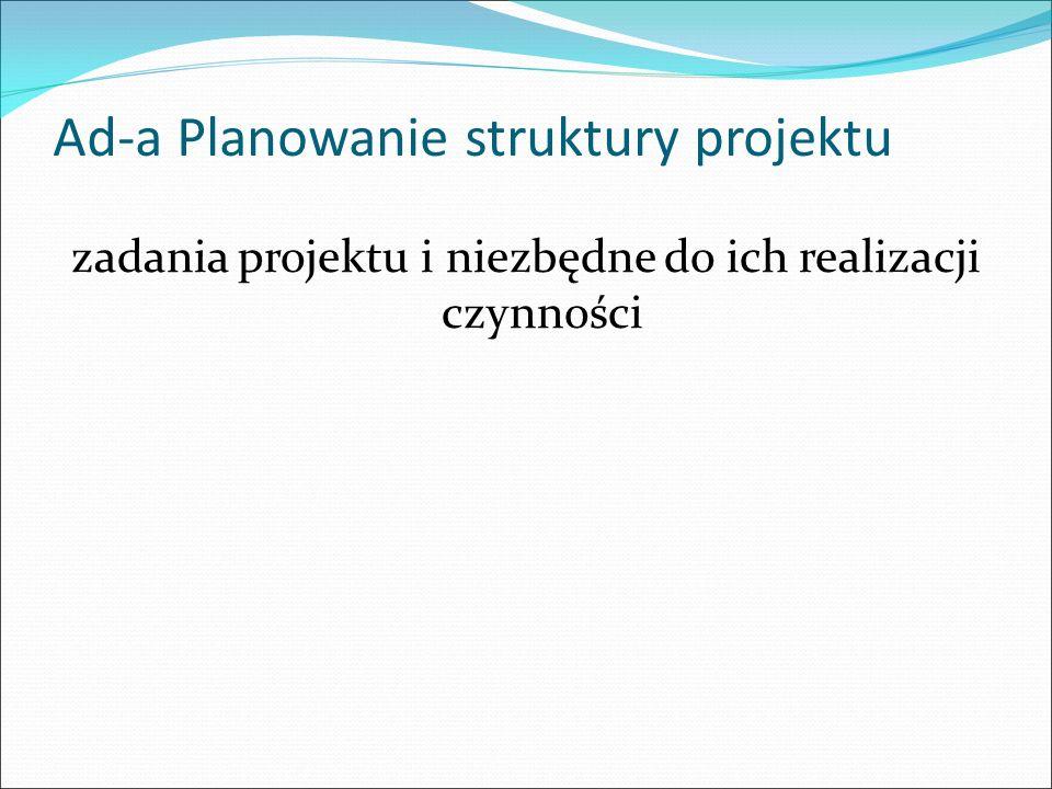 Ad-a Planowanie struktury projektu zadania projektu i niezbędne do ich realizacji czynności