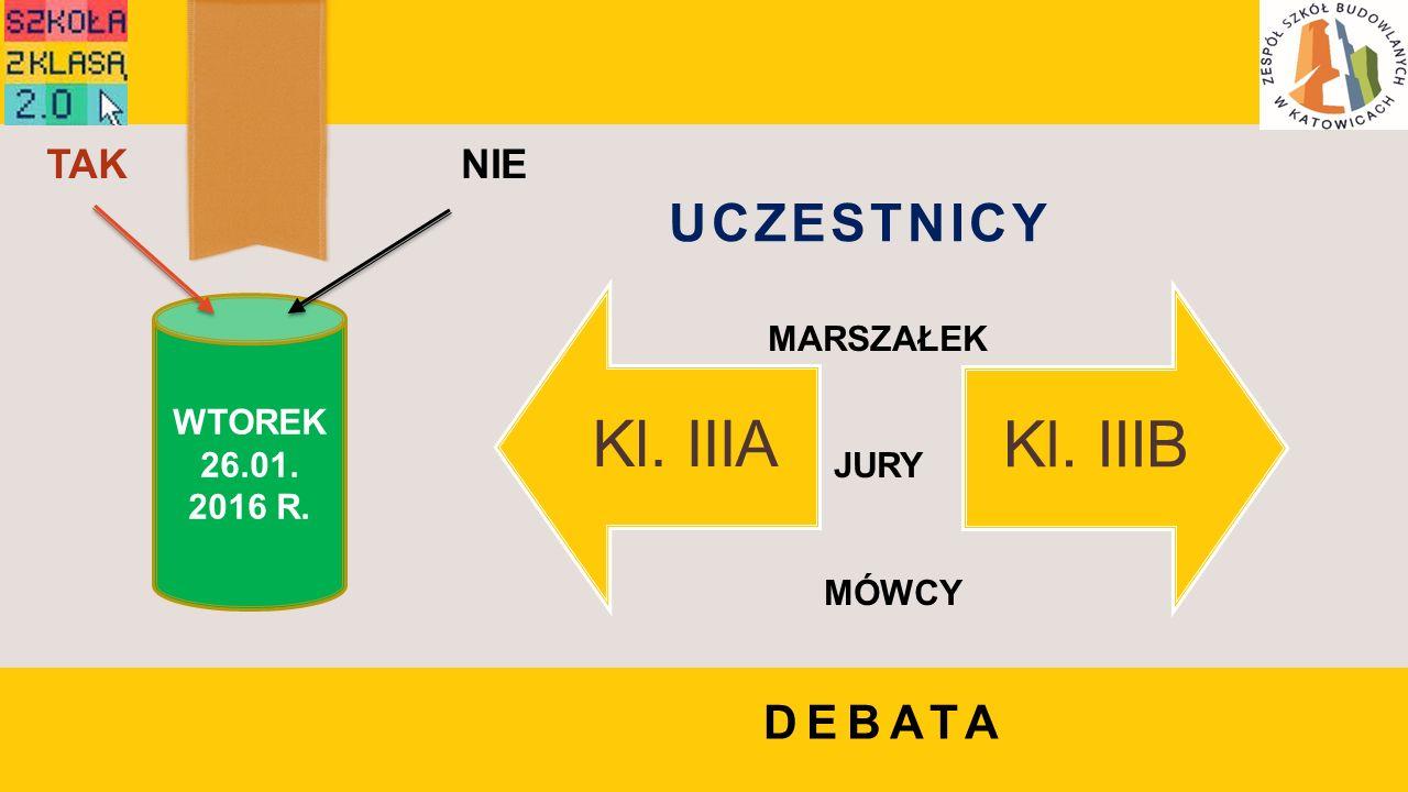 WTOREK 26.01. 2016 R. TAKNIE DEBATA UCZESTNICY Kl. IIIAKl. IIIB MARSZAŁEK JURY MÓWCY