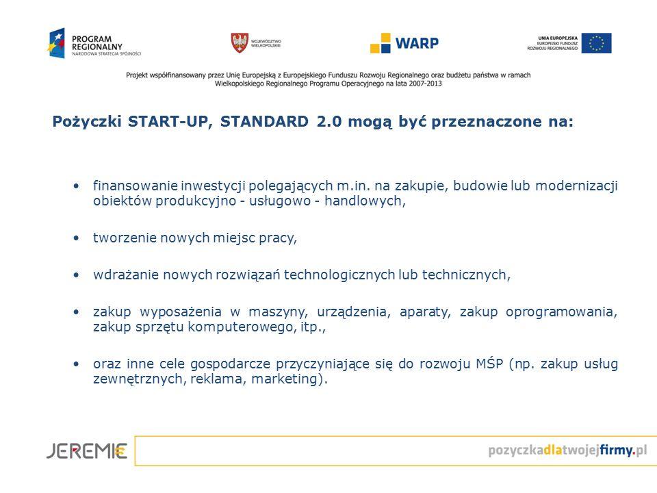 Pożyczki START-UP, STANDARD 2.0 mogą być przeznaczone na: finansowanie inwestycji polegających m.in. na zakupie, budowie lub modernizacji obiektów pro