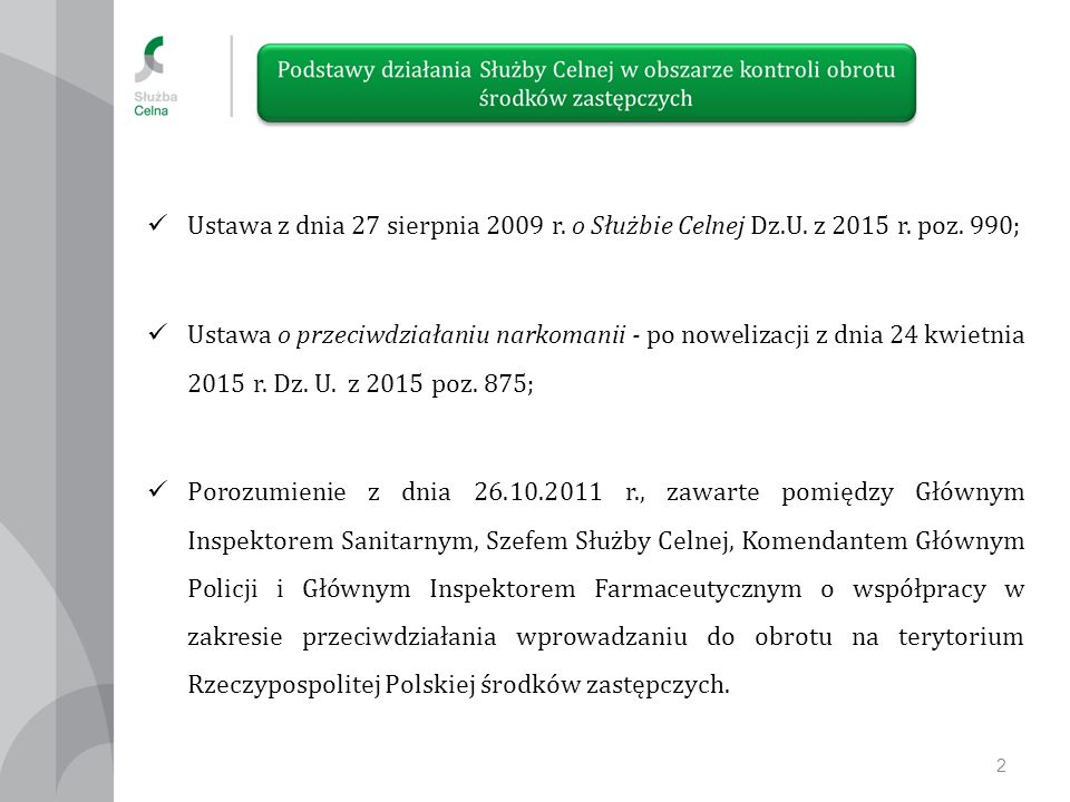 Ustawa z dnia 27 sierpnia 2009 r.o Służbie Celnej Dz.U.