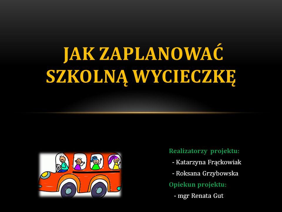 -przewoźnik (koszt przejazdu, parkingi) -ubezpieczenie całej grupy -wyżywienie -noclegi -atrakcje (bilety wstępu) -usługi przewodnika -całkowity koszt wycieczki -koszt wycieczki na 1 ucznia 9.