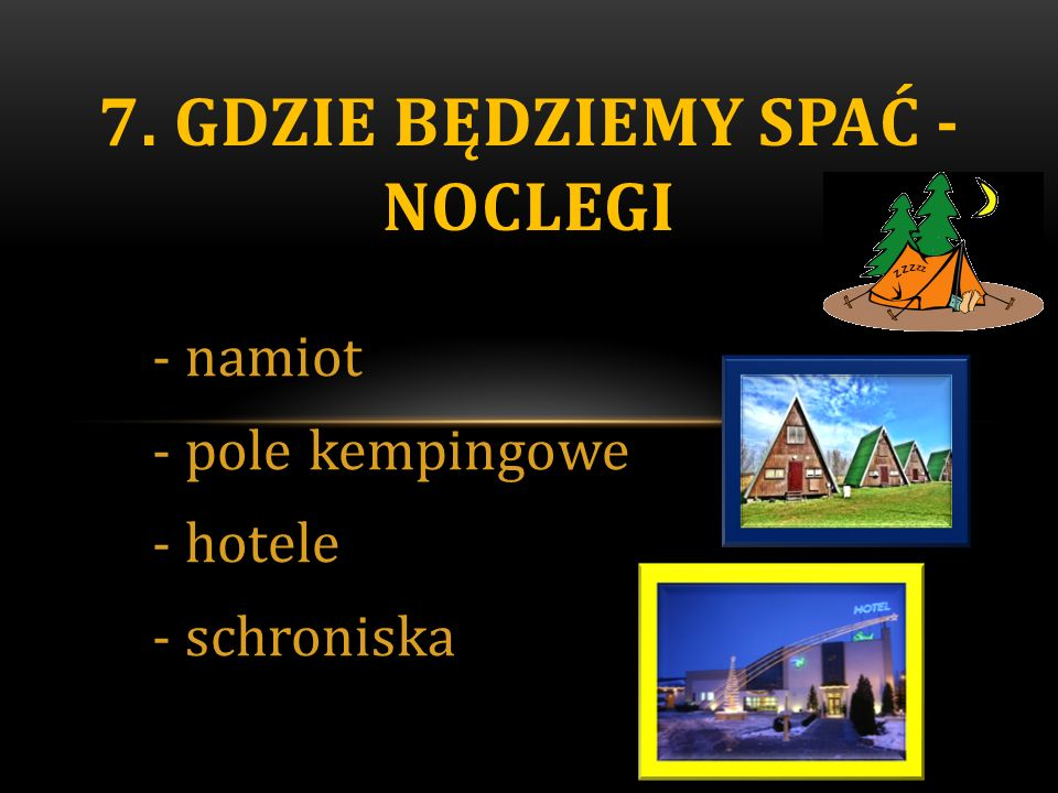 -namiot -pole kempingowe -hotele -schroniska 7. GDZIE BĘDZIEMY SPAĆ - NOCLEGI