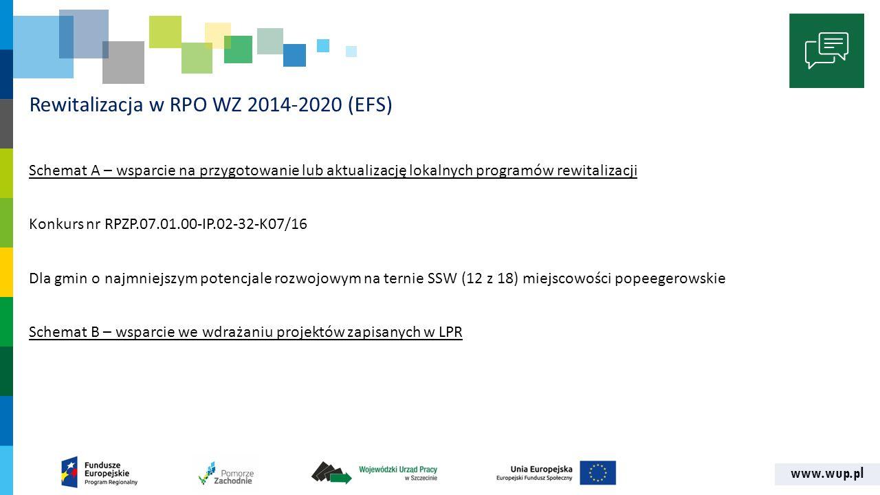 www.wup.pl Rewitalizacja w RPO WZ 2014-2020 (EFS) Schemat A – wsparcie na przygotowanie lub aktualizację lokalnych programów rewitalizacji Konkurs nr RPZP.07.01.00-IP.02-32-K07/16 Dla gmin o najmniejszym potencjale rozwojowym na ternie SSW (12 z 18) miejscowości popeegerowskie Schemat B – wsparcie we wdrażaniu projektów zapisanych w LPR