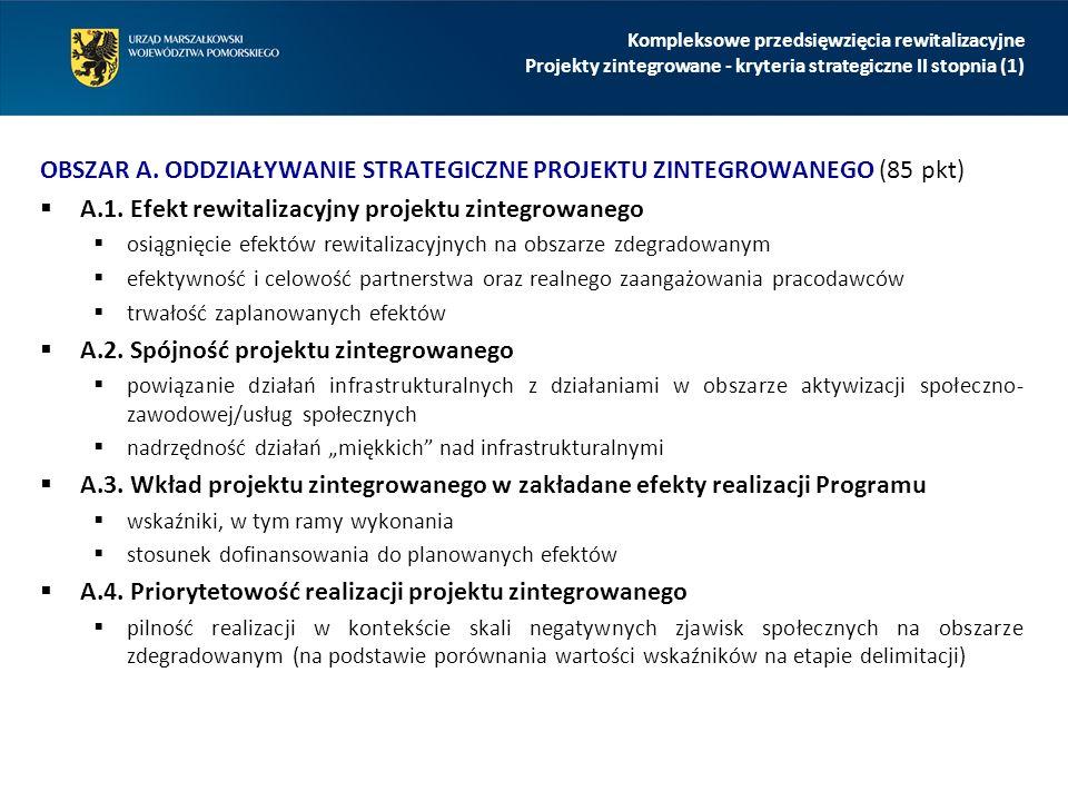 OBSZAR A. ODDZIAŁYWANIE STRATEGICZNE PROJEKTU ZINTEGROWANEGO (85 pkt)  A.1. Efekt rewitalizacyjny projektu zintegrowanego  osiągnięcie efektów rewit