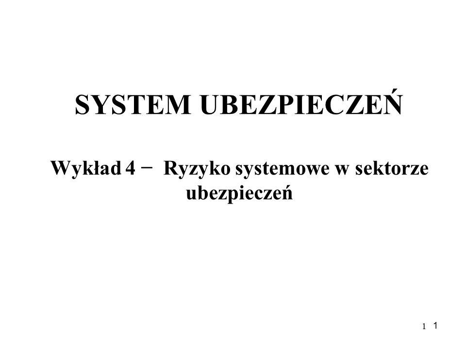 1 1 SYSTEM UBEZPIECZEŃ Wykład 4 − Ryzyko systemowe w sektorze ubezpieczeń