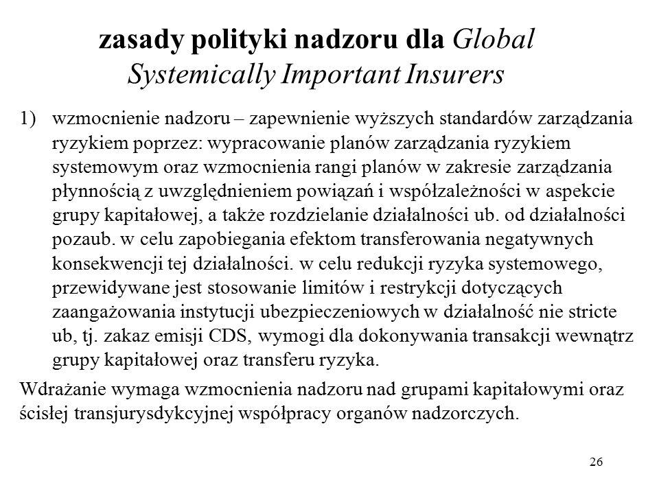 zasady polityki nadzoru dla Global Systemically Important Insurers 1)wzmocnienie nadzoru – zapewnienie wyższych standardów zarządzania ryzykiem poprzez: wypracowanie planów zarządzania ryzykiem systemowym oraz wzmocnienia rangi planów w zakresie zarządzania płynnością z uwzględnieniem powiązań i współzależności w aspekcie grupy kapitałowej, a także rozdzielanie działalności ub.