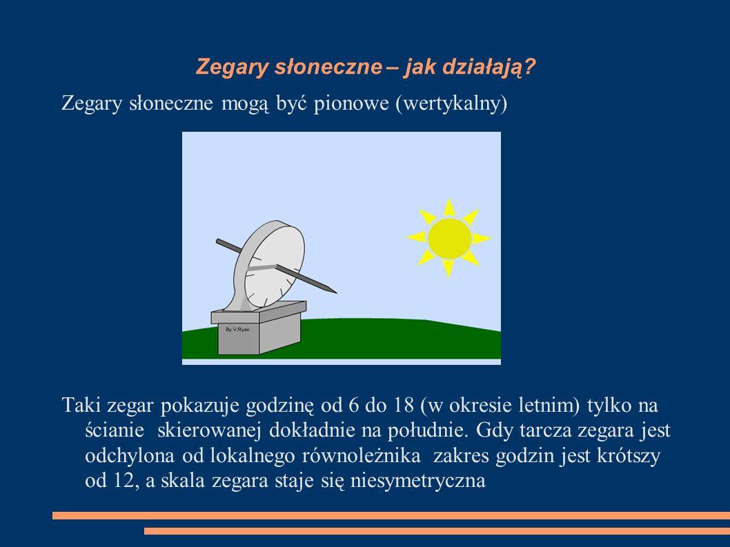 Zegary sloneczne – jak działają? Zegary słoneczne mogą być poziome (horyzontalne). W zegarze takim używanym na półkuli północnej wskaźnik godziny 12 s