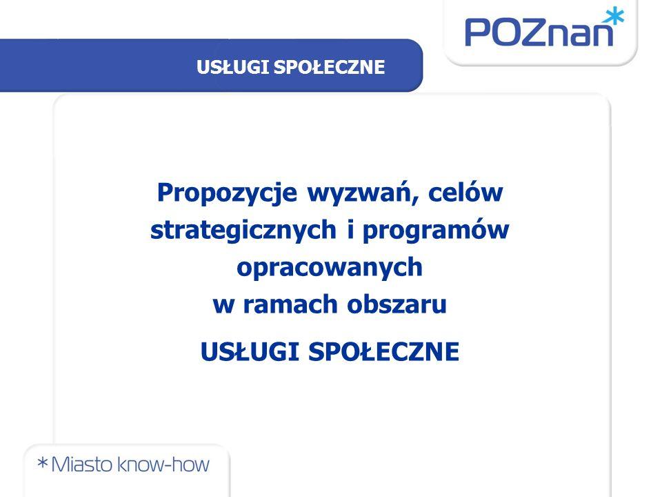 Propozycje wyzwań, celów strategicznych i programów opracowanych w ramach obszaru USŁUGI SPOŁECZNE