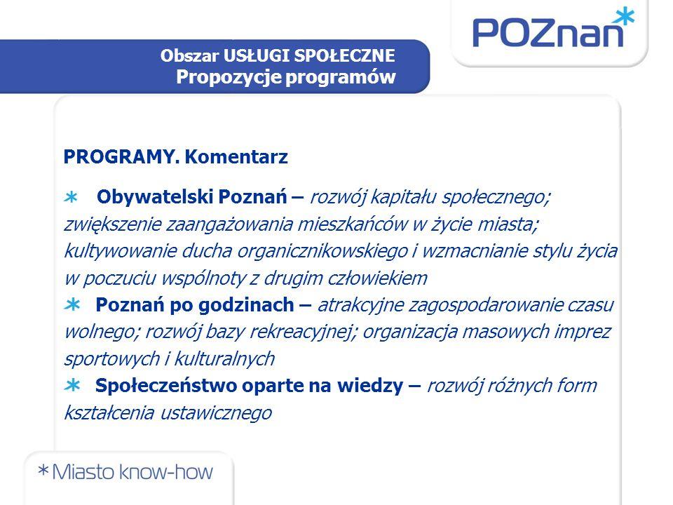 Obszar USŁUGI SPOŁECZNE Propozycje programów PROPOZYCJE WIZJA Poznania'2030: Poznań najważniejszym ośrodkiem kultury i nauki pomiędzy dwiema stolicami: Berlinem i Warszawą.