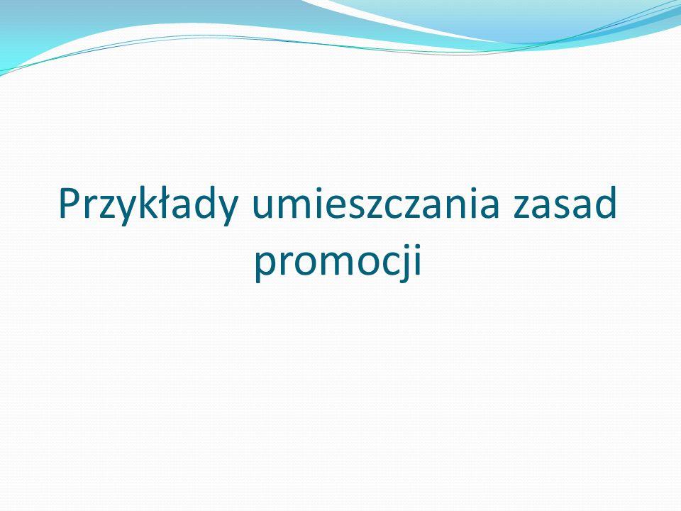 Przykłady umieszczania zasad promocji