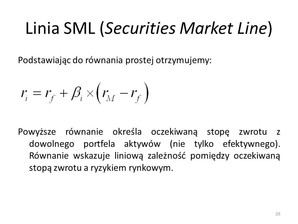 Linia SML (Securities Market Line) Podstawiając do równania prostej otrzymujemy: Powyższe równanie określa oczekiwaną stopę zwrotu z dowolnego portfela aktywów (nie tylko efektywnego).