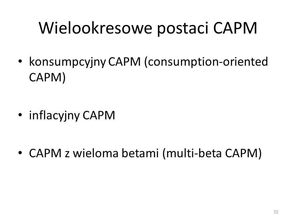 Wielookresowe postaci CAPM konsumpcyjny CAPM (consumption-oriented CAPM) inflacyjny CAPM CAPM z wieloma betami (multi-beta CAPM) 32