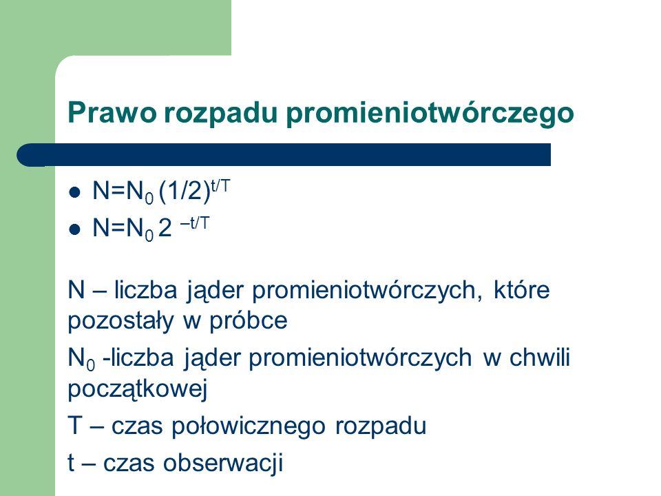 Prawo rozpadu promieniotwórczego N=N 0 (1/2) t/T N=N 0 2 –t/T N – liczba jąder promieniotwórczych, które pozostały w próbce N 0 -liczba jąder promieni