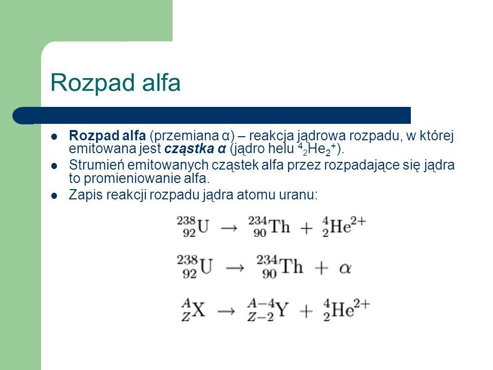 Rozpad alfa Rozpad alfa (przemiana α) – reakcja jądrowa rozpadu, w której emitowana jest cząstka α (jądro helu 4 2 He 2 + ). Strumień emitowanych cząs