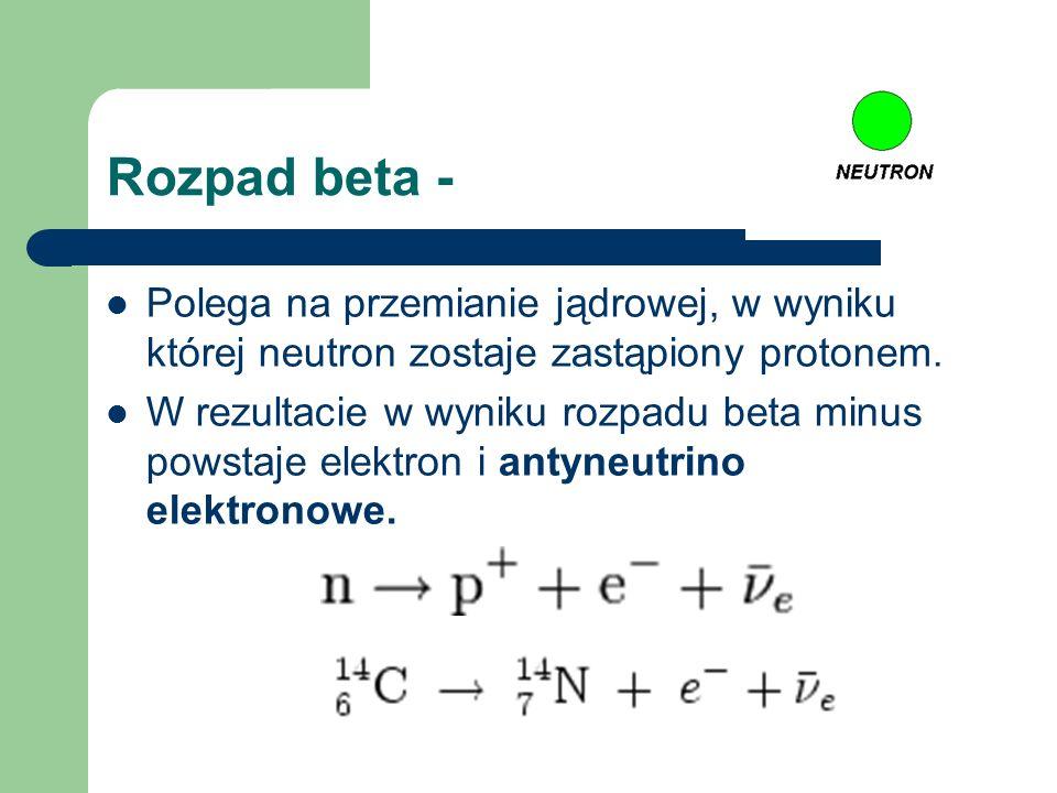 Rozpad beta - Polega na przemianie jądrowej, w wyniku której neutron zostaje zastąpiony protonem. W rezultacie w wyniku rozpadu beta minus powstaje el