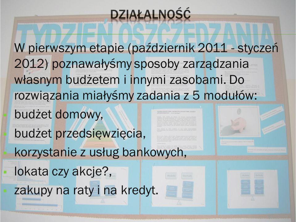 W pierwszym etapie (październik 2011 - styczeń 2012) poznawałyśmy sposoby zarządzania własnym budżetem i innymi zasobami. Do rozwiązania miałyśmy zada