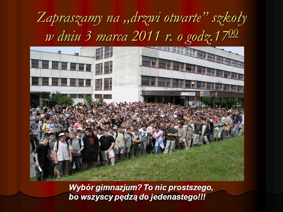 Zapraszamy na,,drzwi otwarte szkoły w dniu 3 marca 2011 r.