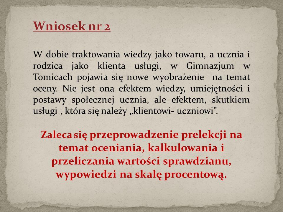 Wniosek nr 2 W dobie traktowania wiedzy jako towaru, a ucznia i rodzica jako klienta usługi, w Gimnazjum w Tomicach pojawia się nowe wyobrażenie na temat oceny.