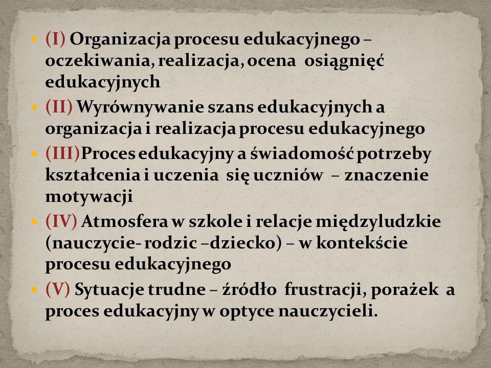 (I) Organizacja procesu edukacyjnego – oczekiwania, realizacja, ocena osiągnięć edukacyjnych (II) Wyrównywanie szans edukacyjnych a organizacja i realizacja procesu edukacyjnego (III)Proces edukacyjny a świadomość potrzeby kształcenia i uczenia się uczniów – znaczenie motywacji (IV) Atmosfera w szkole i relacje międzyludzkie (nauczycie- rodzic –dziecko) – w kontekście procesu edukacyjnego (V) Sytuacje trudne – źródło frustracji, porażek a proces edukacyjny w optyce nauczycieli.