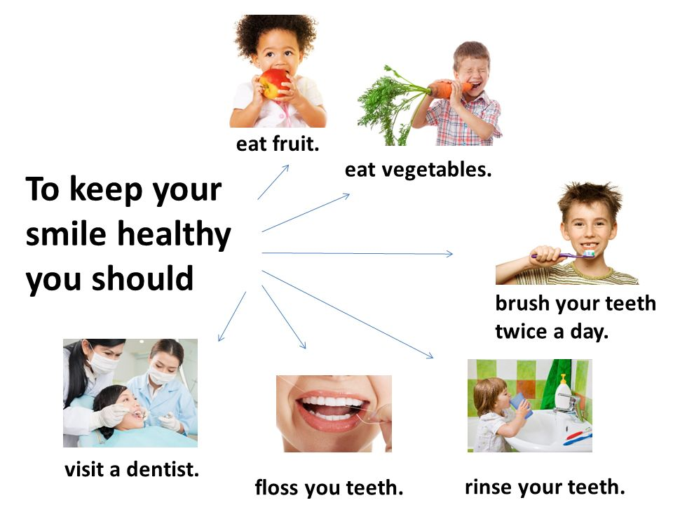 To keep your smile healthy you should eat fruit. eat vegetables. brush your teeth twice a day. floss you teeth. visit a dentist. rinse your teeth.