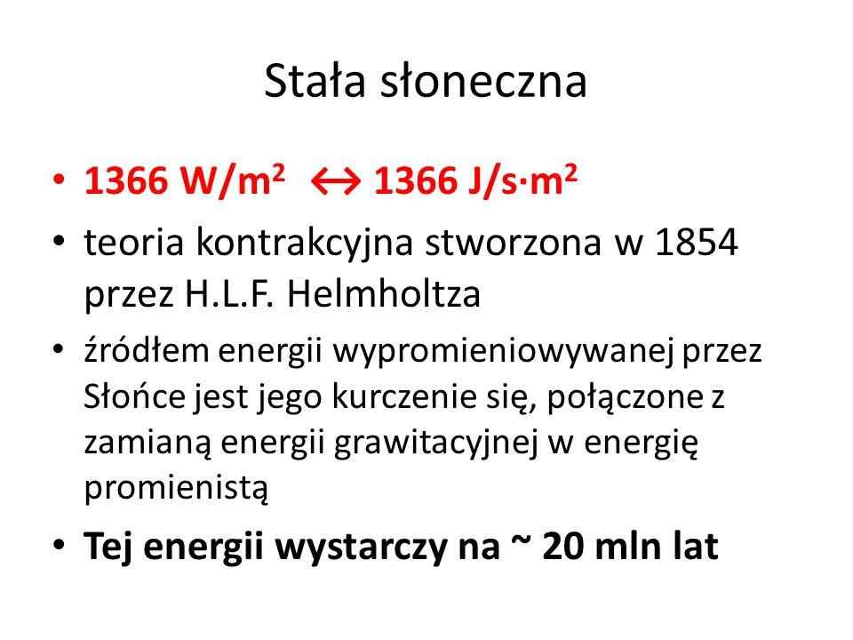 Stała słoneczna 1366 W/m 2 ↔ 1366 J/s·m 2 teoria kontrakcyjna stworzona w 1854 przez H.L.F. Helmholtza źródłem energii wypromieniowywanej przez Słońce