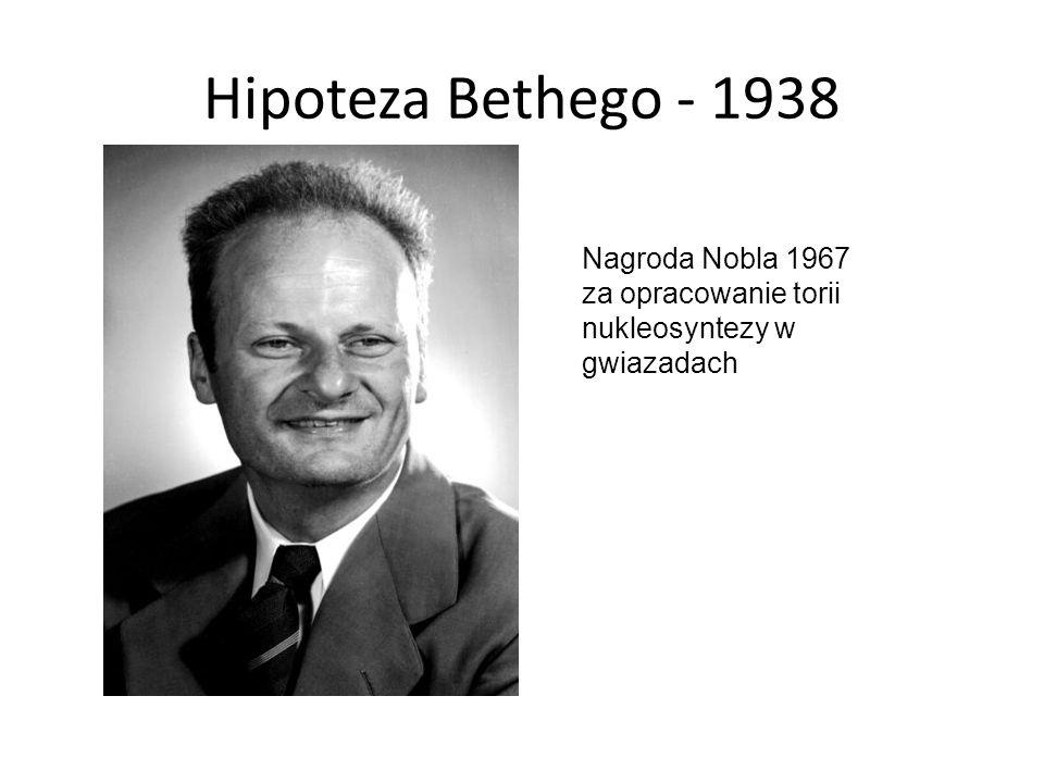 Hipoteza Bethego - 1938 Nagroda Nobla 1967 za opracowanie torii nukleosyntezy w gwiazadach