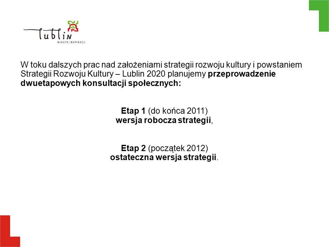 W toku dalszych prac nad założeniami strategii rozwoju kultury i powstaniem Strategii Rozwoju Kultury – Lublin 2020 planujemy przeprowadzenie dwuetapowych konsultacji społecznych: Etap 1 (do końca 2011) wersja robocza strategii, Etap 2 (początek 2012) ostateczna wersja strategii.
